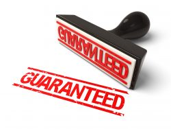 A rubber stamp guarantee in red ink.3d image. Isolated white background.